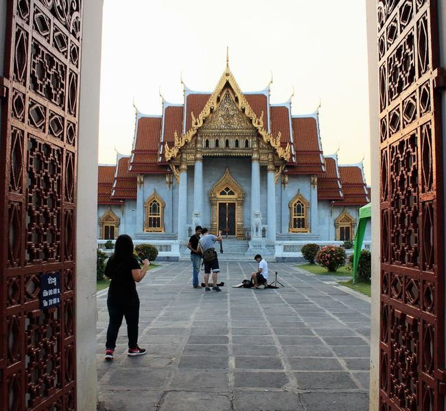 the marble temple or wat benjamabopit temple was built by ordered king rama V. when you entrance you will se a pair of mable lions standing guard on the doors Marbletemple Thailand Architecture Marble