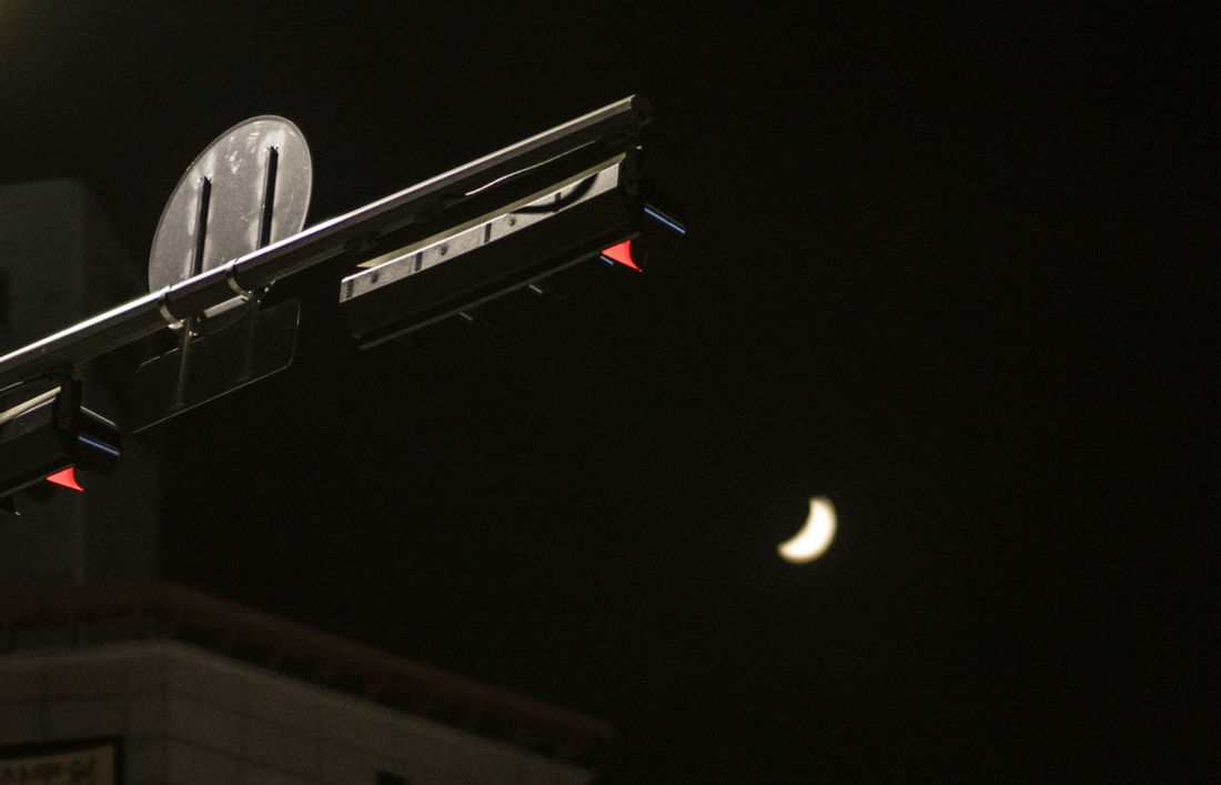 Night No People Arts Culture And Entertainment Low Angle View Moon Black Background Outdoors Sky Sign Trafficlight Signallamp A6000 Samyang85mm City Life City Outdoor Day Astronomy Moonlight by Chualkak