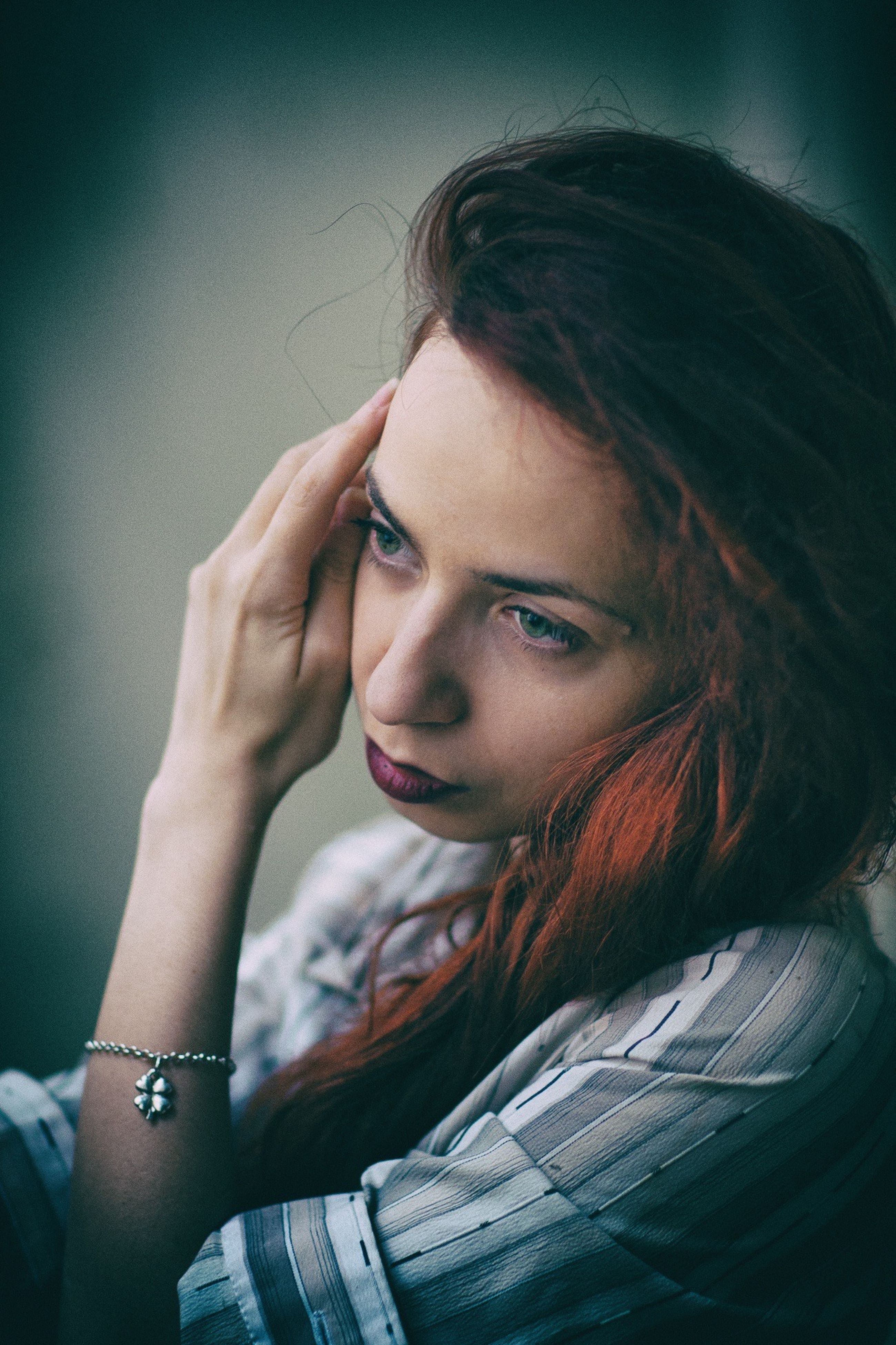 young adult, headshot, lifestyles, indoors, young women, portrait, person, looking at camera, front view, leisure activity, contemplation, close-up, serious, head and shoulders, casual clothing, human face