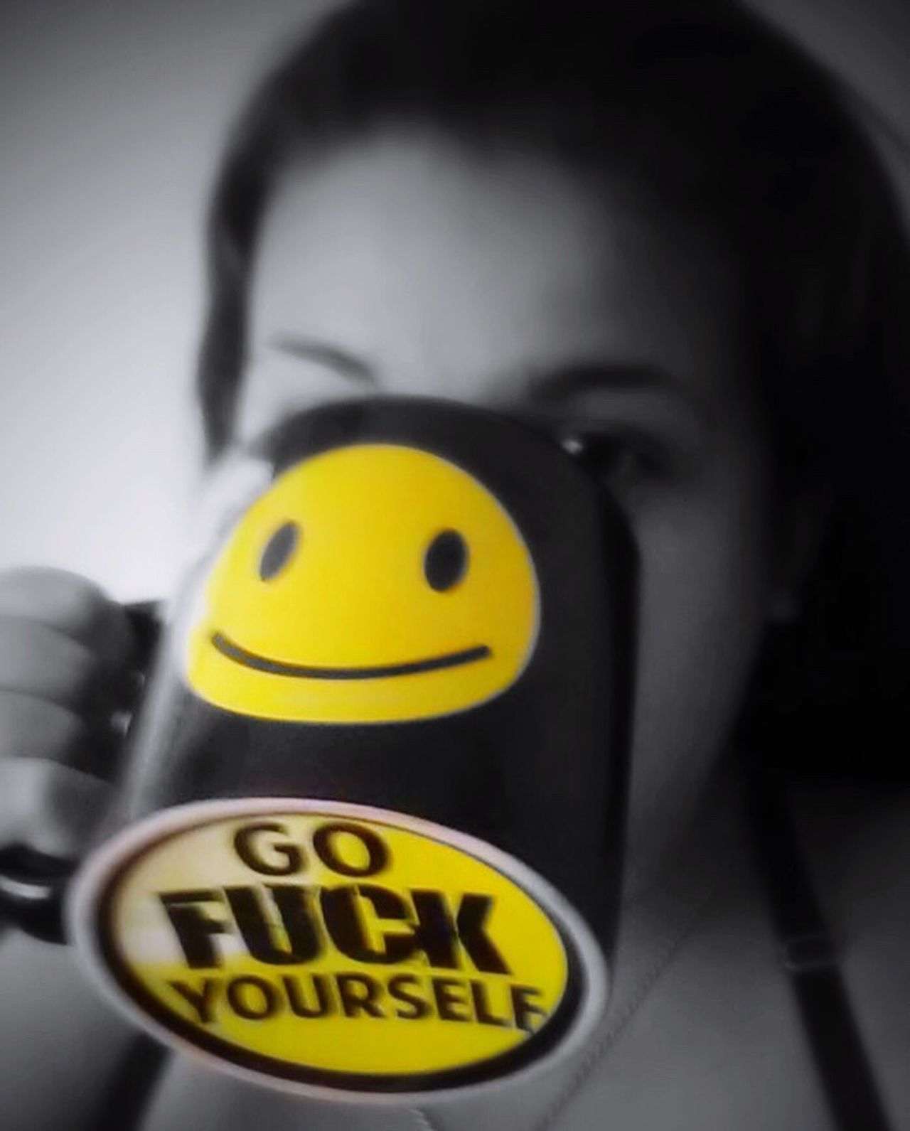 Yellow Western Script Indoors  Text Front View Focus On Foreground Symbol Smiley Coffee Good Morning Good Morning! Good Morning World! Self Self Portrait Selfies Drinking Profanity Humor Black And White Yellow Color Female Model Eye Em Viral Beverage Bed Head