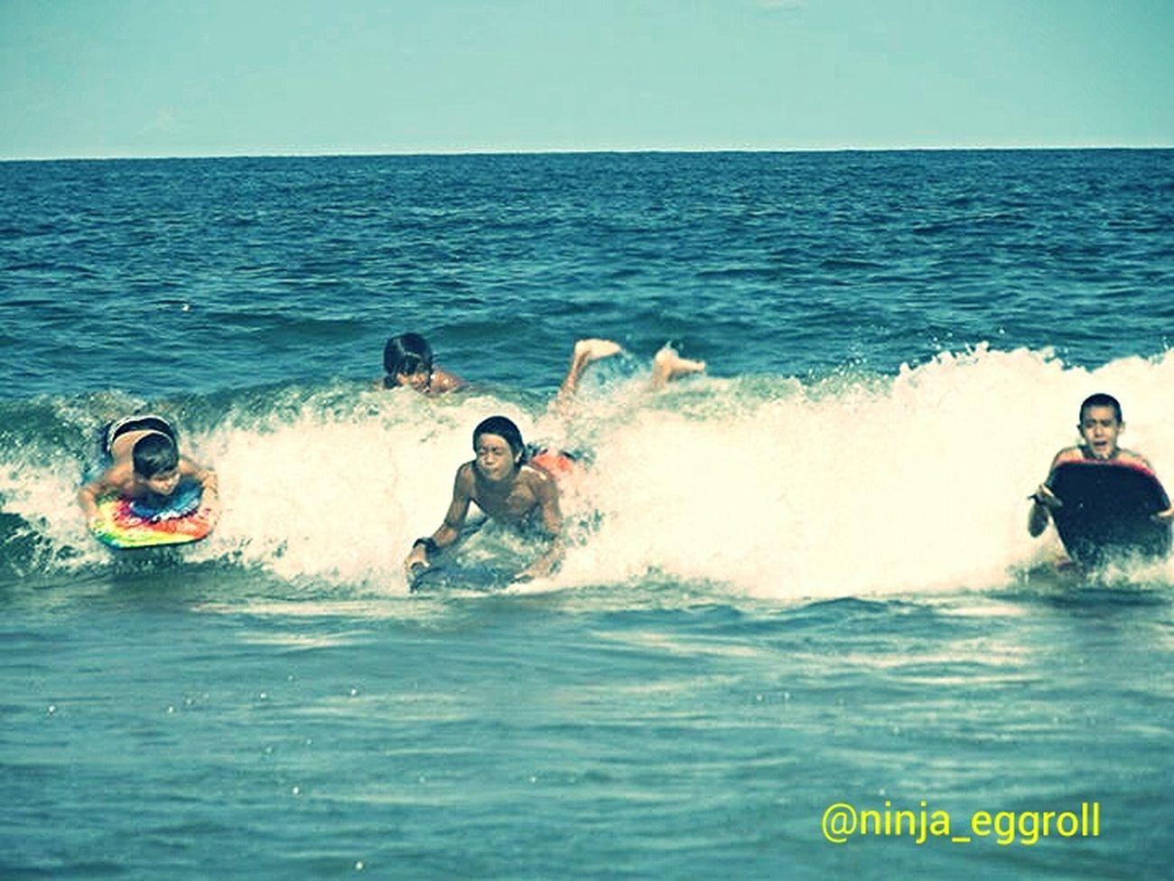 my nephews At The Beach body surfing Enjoying Summer Catching Waves