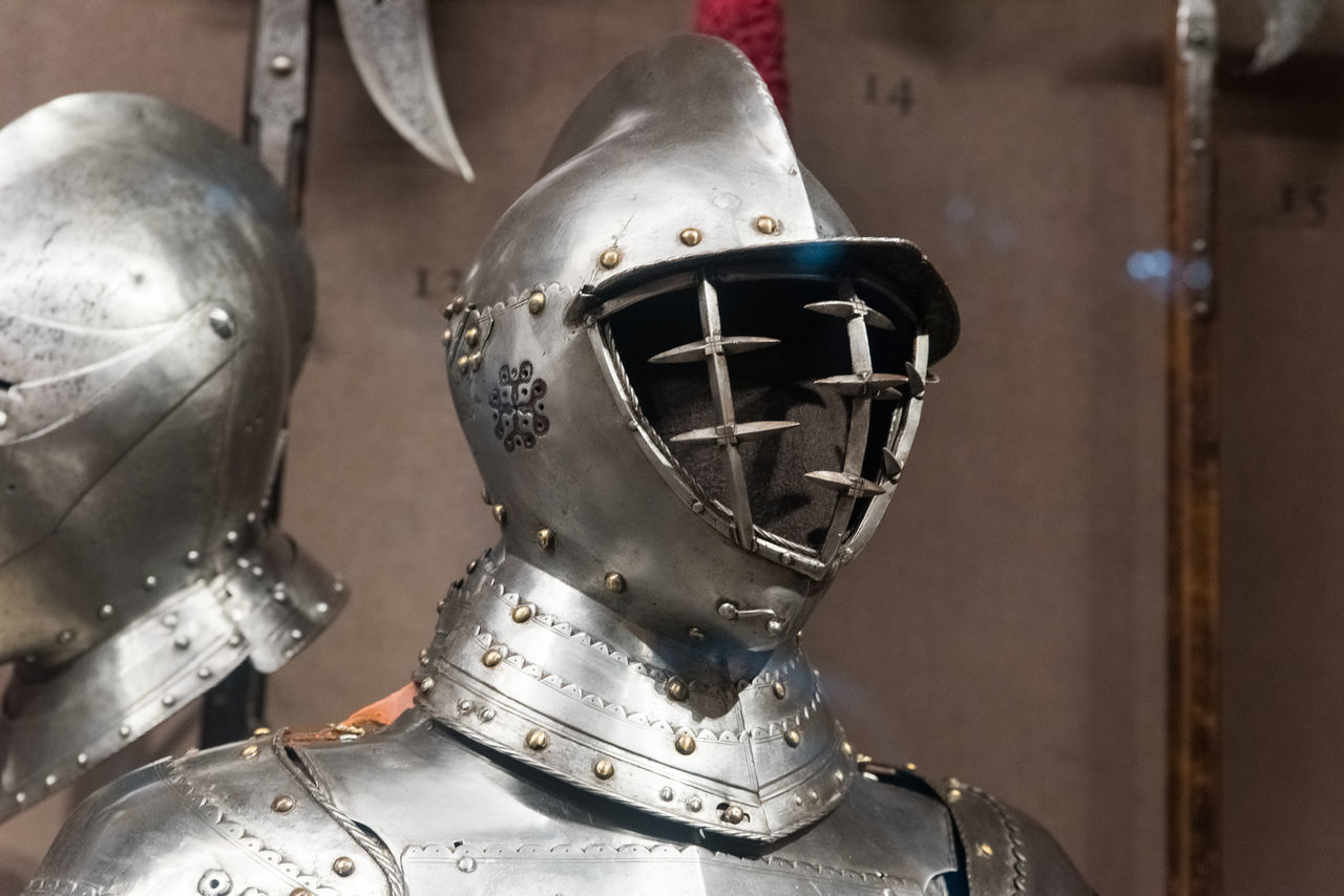 Close-up Day Headwear Helmet History Indoors  Medieval Metal Museum No People Shield Suit Of Armor