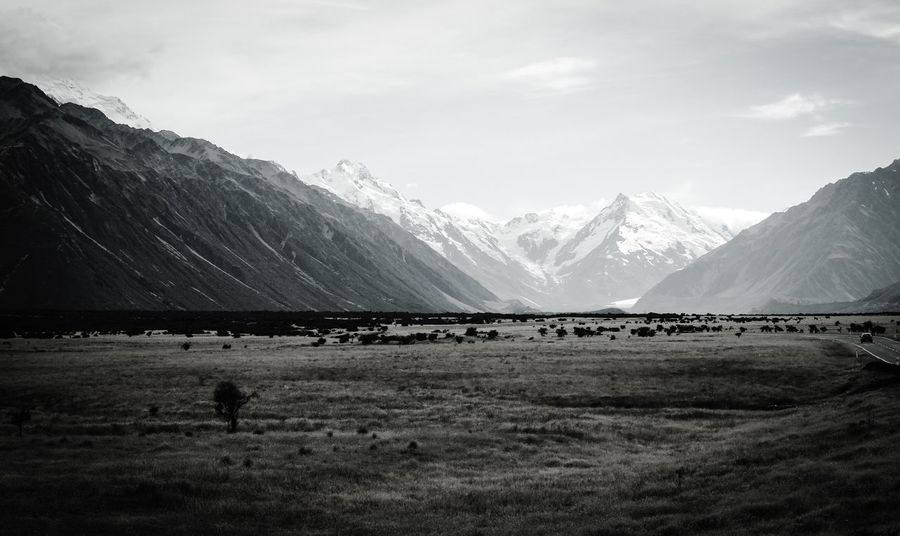 Mountain Landscape Sky Nature Beauty In Nature Scenics Scenery Snow Day Outdoors No People Mount Cook New Zealand Mountain Range Simplicity Field Street Traveling Road Blackandwhite Black And White Snowcapped Mountain Trees Sunlight And Shadow Sunlight