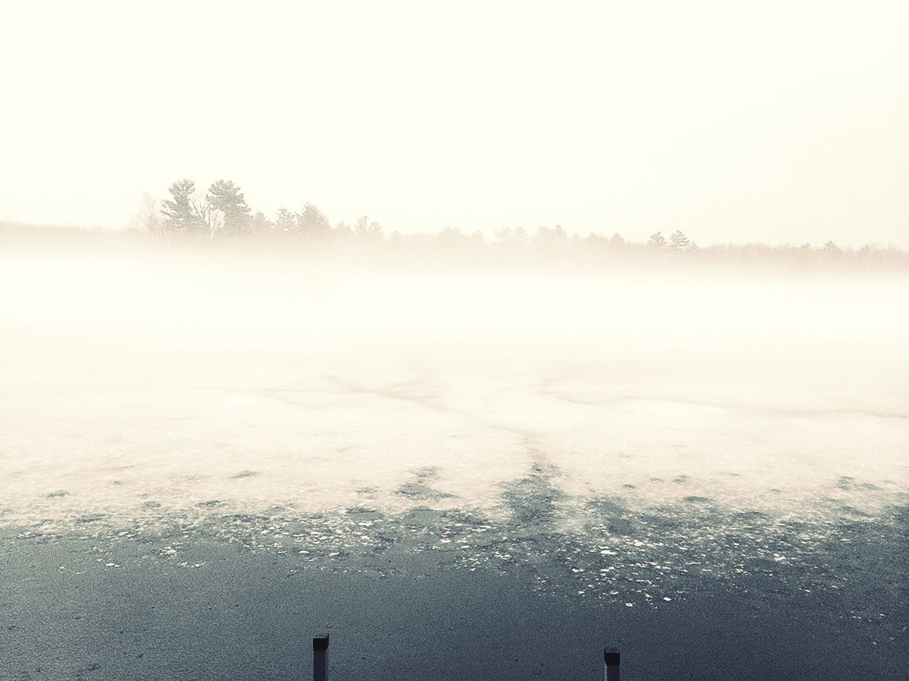 winter, cold temperature, nature, tranquility, beauty in nature, snow, weather, tranquil scene, no people, mist, scenics, idyllic, outdoors, frozen, flat, fog, landscape, hazy, day, water, tree, sky