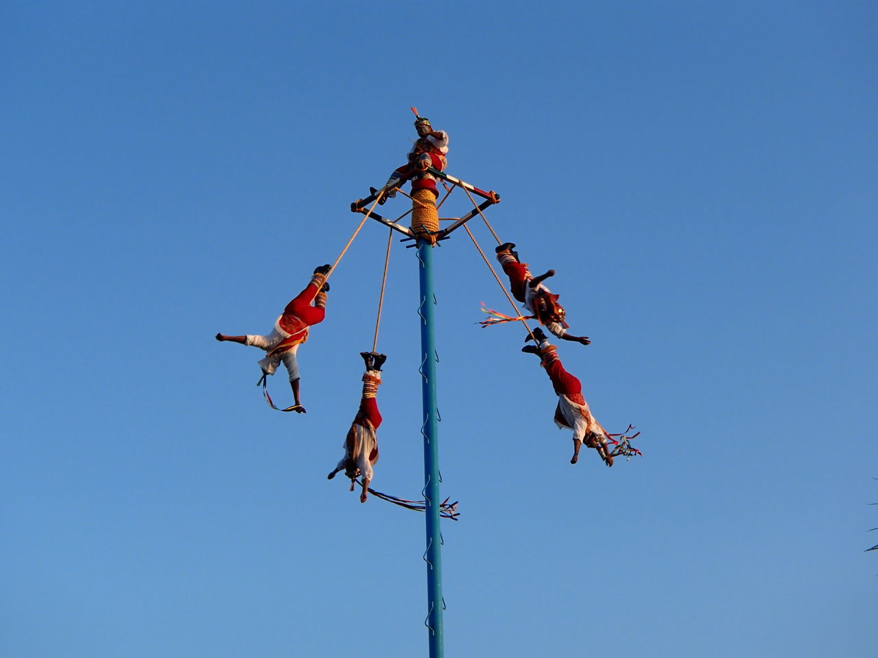 Trip in Playa del Carmen Blue Clear Sky Flying Hanging Low Angle View Mexico Motion Outdoors Sky Teamwork Traditional Culture Blue Wave