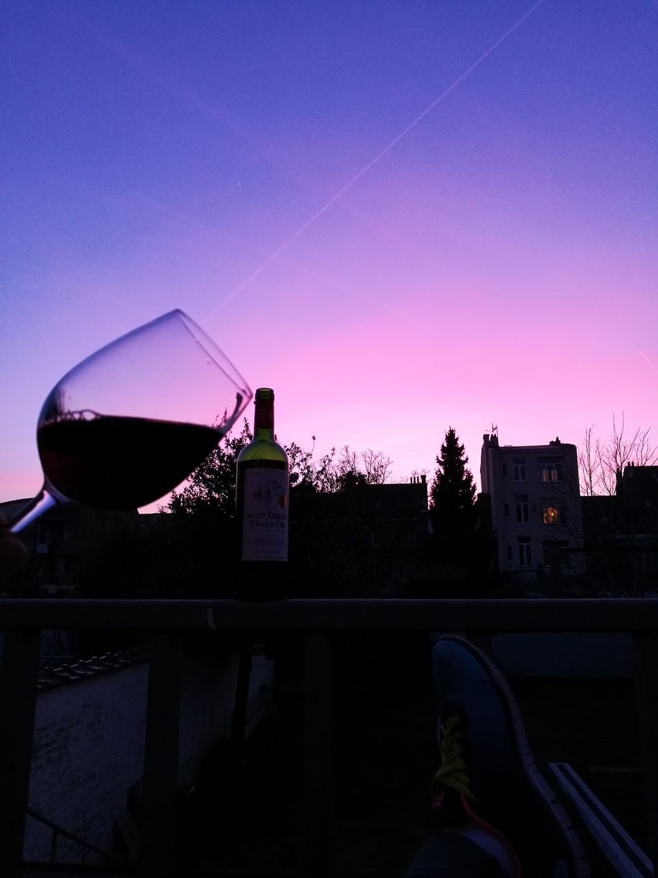Wine moments! Sky Sunset Tree No People Night Outdoors Art Tranquility Clear Sky Nature Freshness Cold Temperature Layers And Colors Beautiful Colors