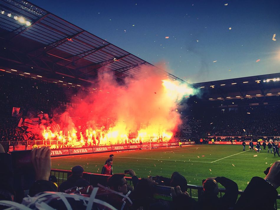Large Group Of People Crowd Lifestyles Outdoors Foortball Stadium Pyrotechnics Night Sky Togetherness First Eyeem Photo