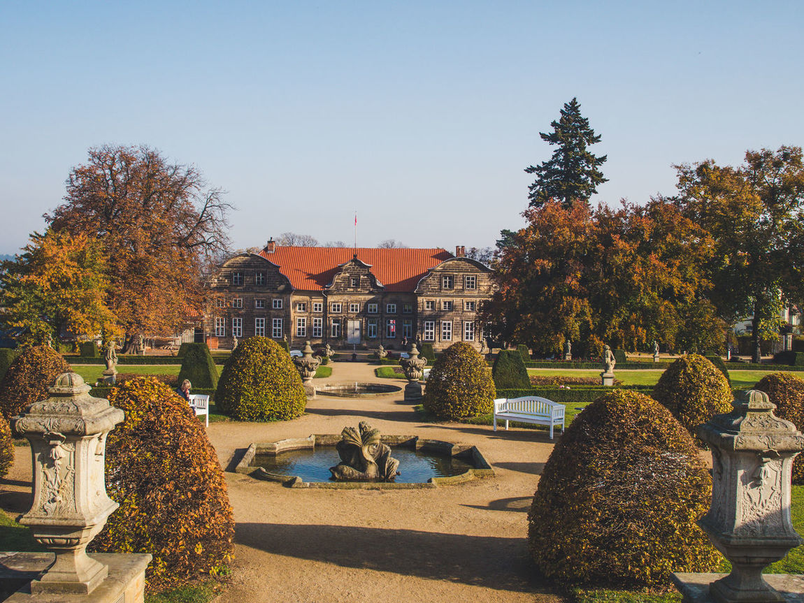 Castle Harz Mountains, Germany Architecture Autumn Building Exterior Built Structure Change Clear Sky Day Nature No People Outdoors Palace Sky Tree Villa The Week On EyeEm Perspectives On Nature