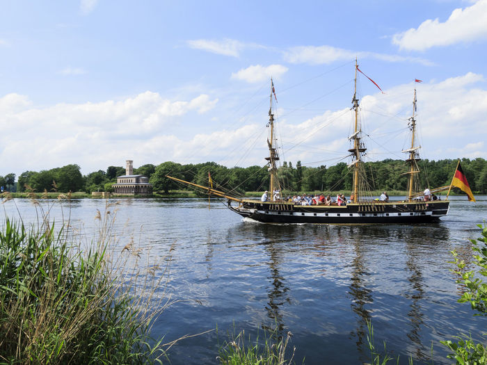 Ships and more Fun Louise View Activity Beauty In Nature Boat Built Structure Cloud - Sky Havel Mast Mode Of Transport Moored Nature Nautical Vessel No People Replica  River Royal Scenics Ship Sky Sport Transportation Water Waterfront