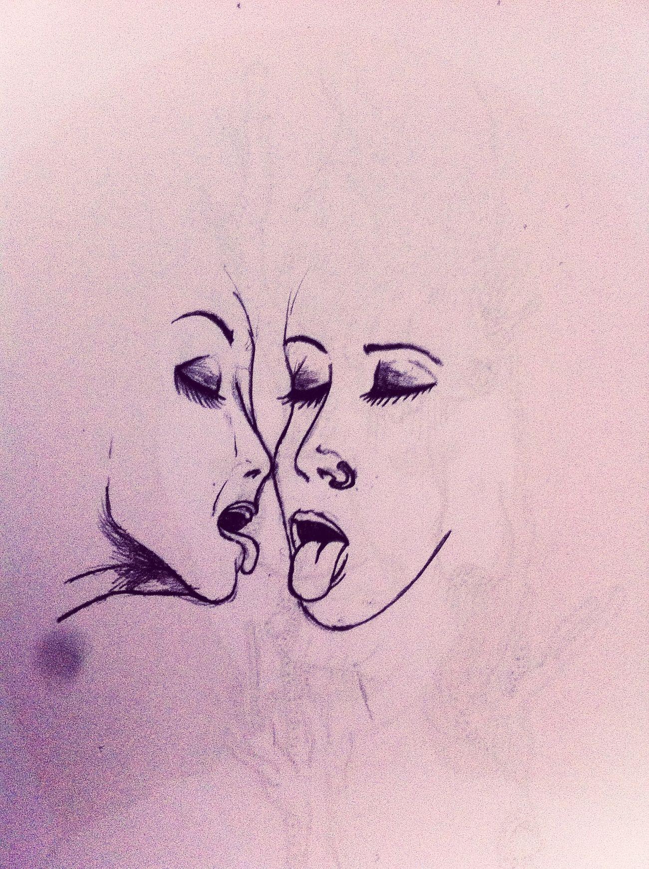 Woman Girls Love Grafito Drawing Kiss