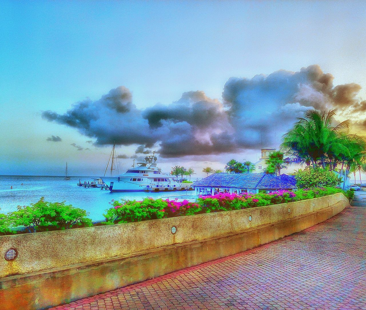 Man Made Structure Man Made Object Man Made Beauty Sea And Sky Seascape Bridge - Man Made Structure Yaught Club Yaught Waterworld Check This Out Nature Photography Boats⛵️ Port St Charles Barbados 2016 Clouds And Sky Fine Art Photography
