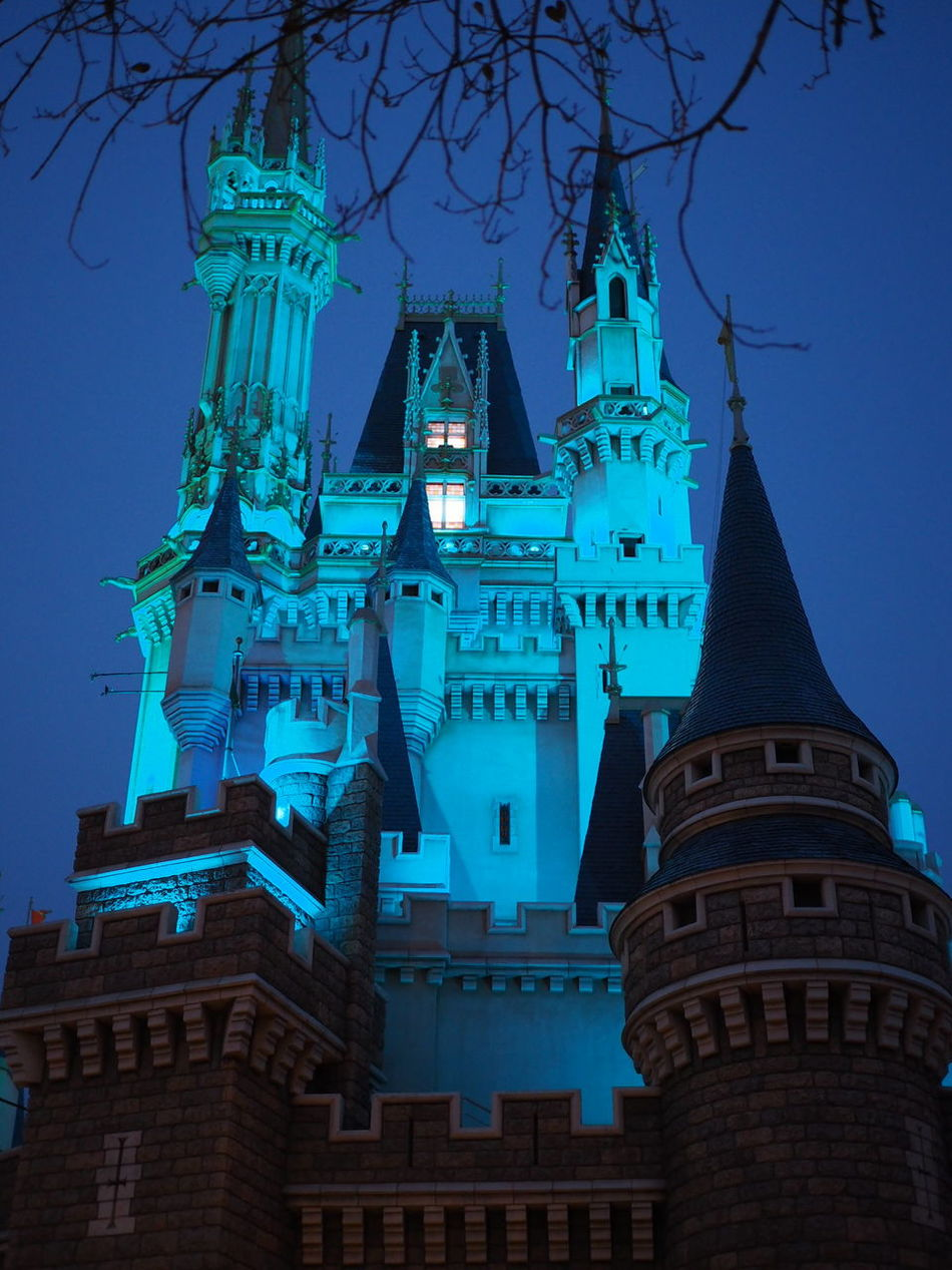 Architecture Travel Destinations Palace Disneyland Cinderella Tokyo Japan Light Night
