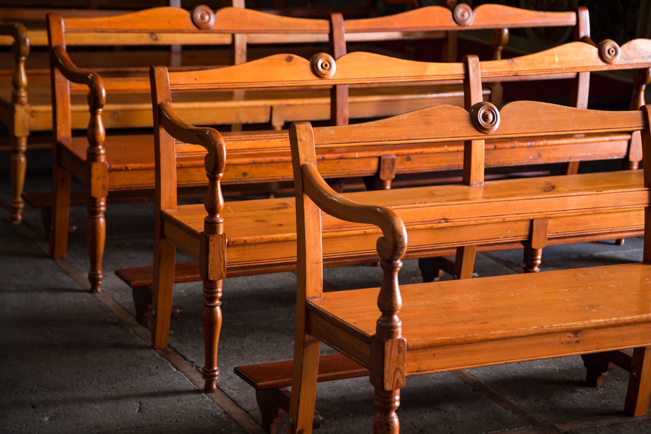 Benches Church Benches Day Emptiness Light No People Wood - Material