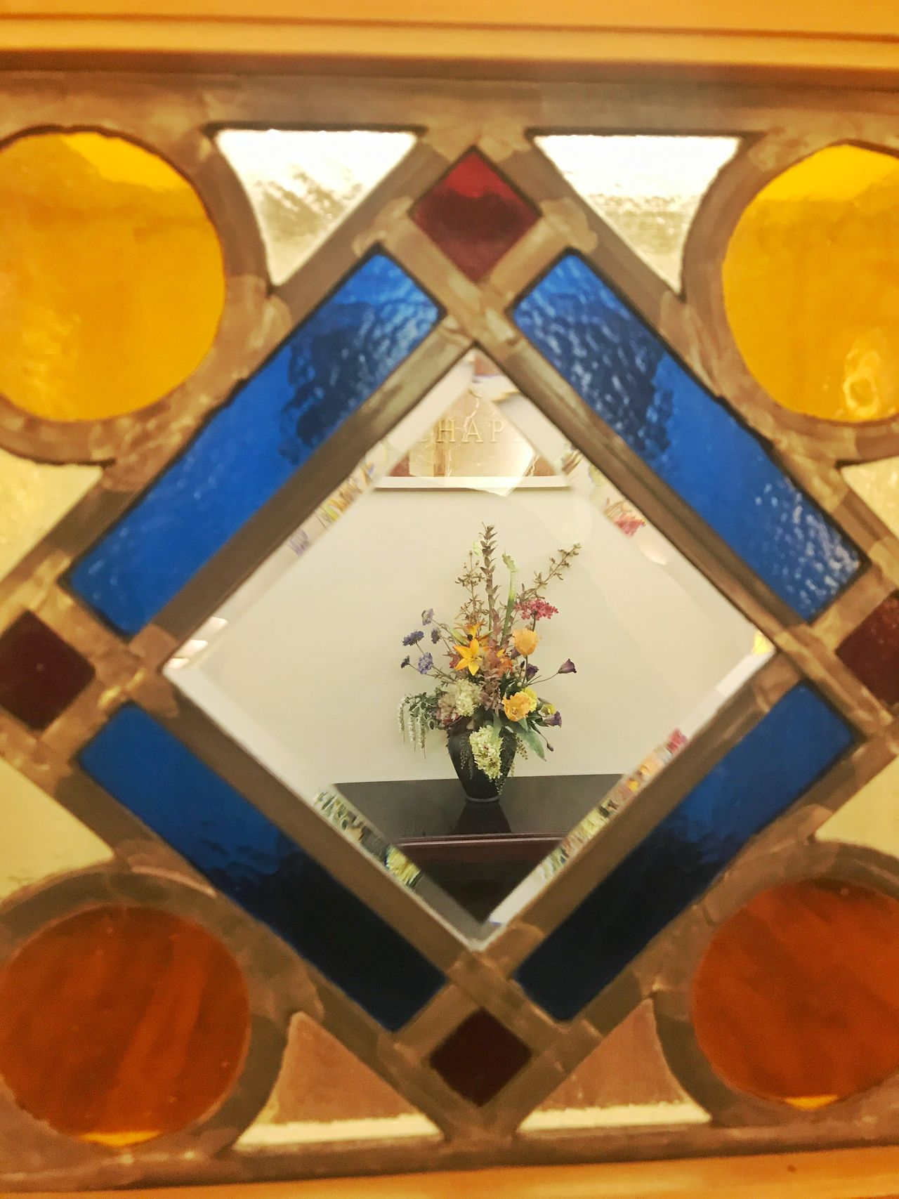 Stained Glass and bouquet Leaded Glass Window Diamond Hospital Chapel Interior Views Bouquet Of Flowers Stained Glass Indoors  No People Close-up Day