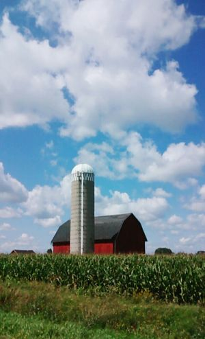 Blue Skies Clouds Farm Barn Silos Corn Field Nature Sky Beautiful