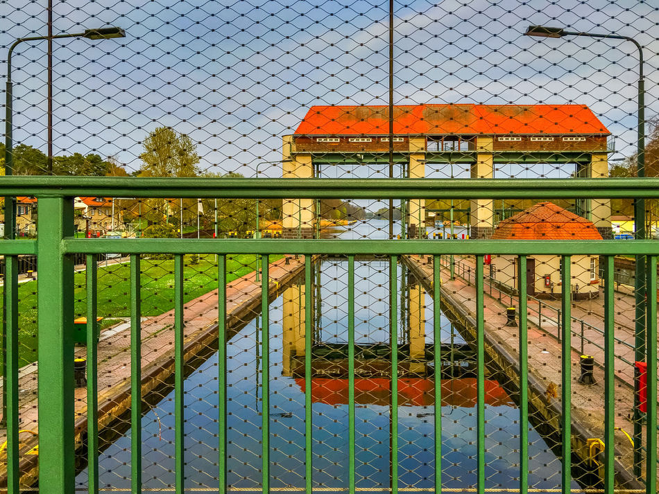view at lock and gate Kleinmachnow Building Building Exterior Cloud - Sky Cloudy Fence Gate Grid Kleinmachnow Lock No People Outdoors Sluice Stahnsdorf Water Watergate