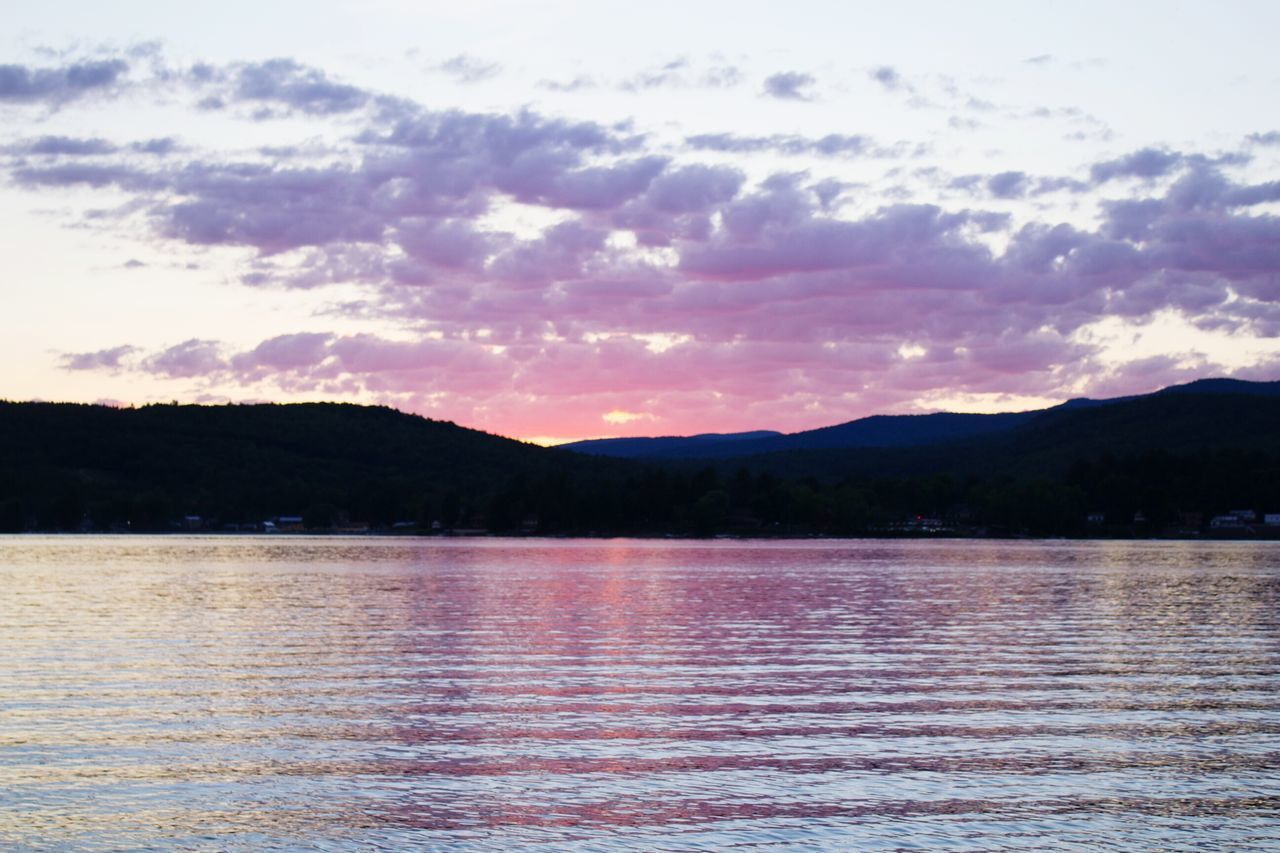 Beauty In Nature Mountain View Adirondacks Mountain Tranquility Tranquil Scene Landscape Outdoors Sky Sunset Sunset_collection Cloud Nature No People Colors Schroon Lake