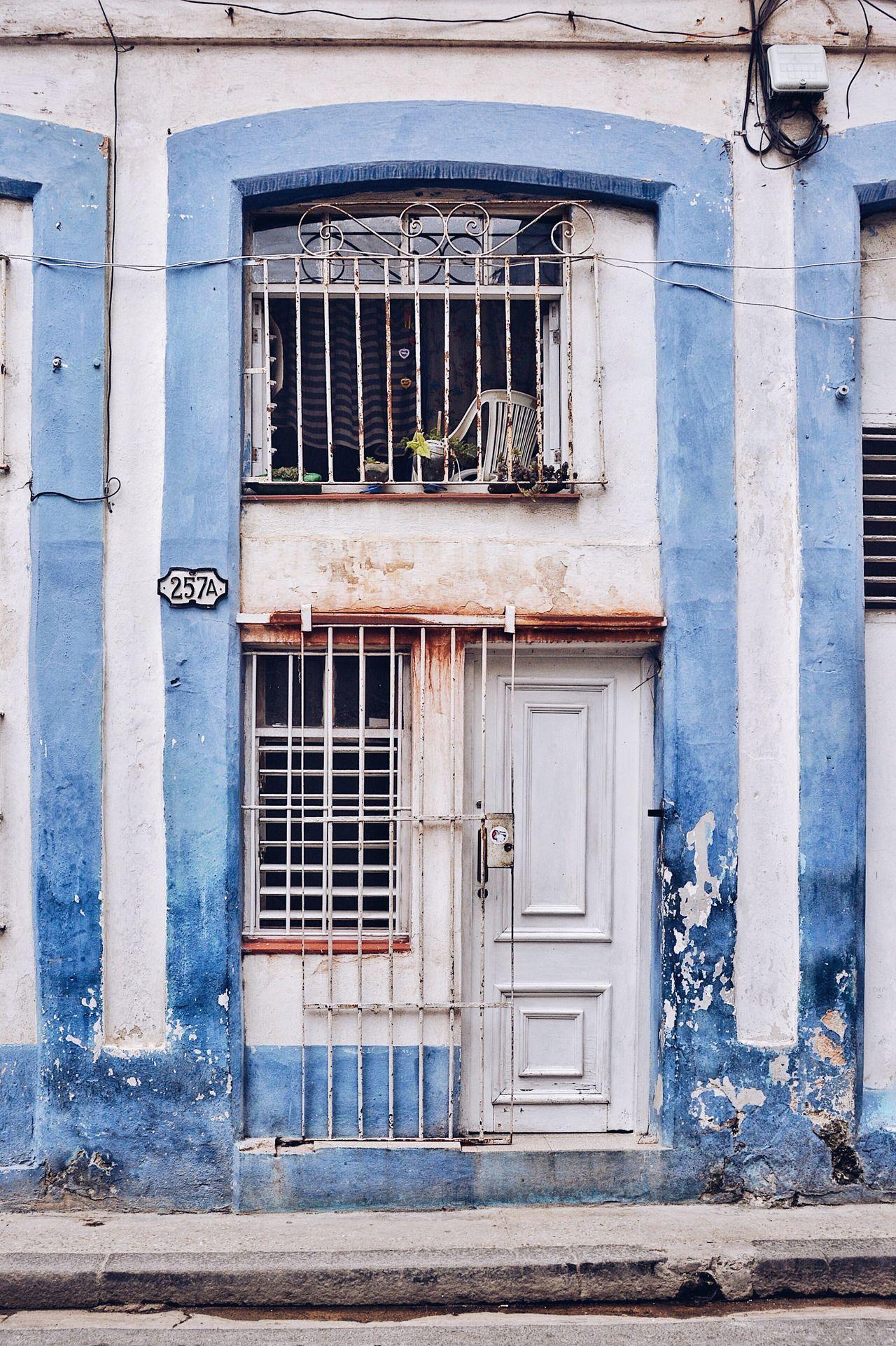 257A Door Building Exterior Window Architecture Built Structure House Residential Building Doorway Façade Next Door Neighborhood Urban Urbanity Cuba Havana City Blue Blue Door