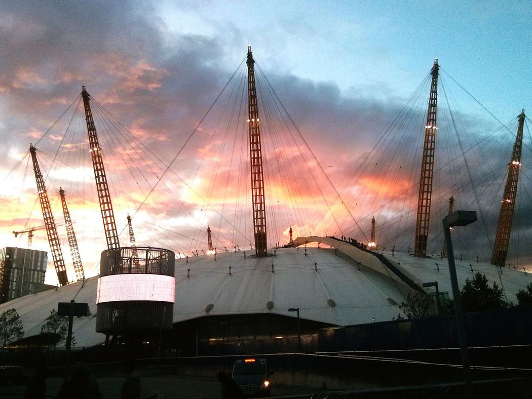 Under the fiery sky.. O2 Arena Event Venue Sunset And Clouds  Skyviewers Northgreenwich Londonlife