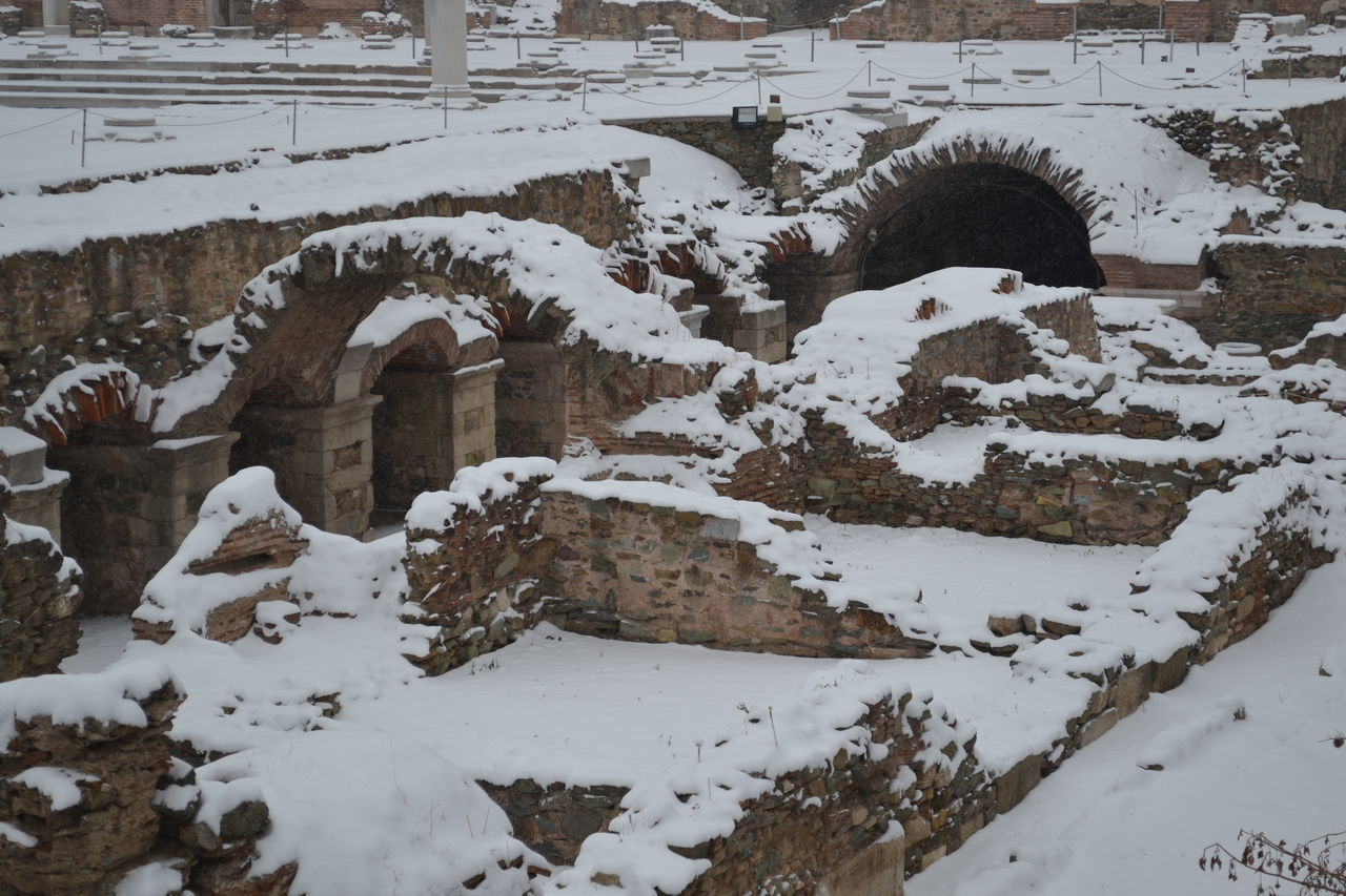 Agora Ancient Ancient Architecture Ancient City Ancient Civilization Ancient History Ancient Ruins Architecture Architecture Beauty In Nature Cold Temperature Day Greece Nature No People Outdoors Snow Thessaloniki White Winter