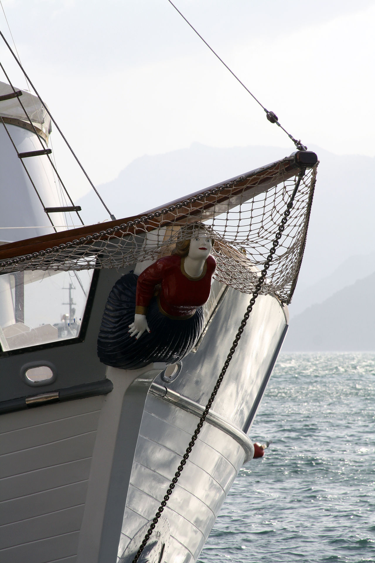 Blue Boat Cable Cropped Day Marmaris, Turkey Mast Masthead Mode Of Transport Mountain Nature No People Outdoors Part Of Rippled Sailboat Sailing Ship Sky Water