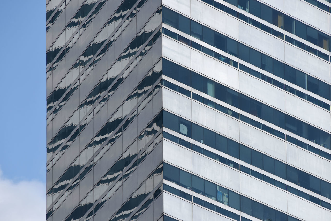 architecture, building exterior, modern, low angle view, window, built structure, blue, skyscraper, corporate business, pattern, no people, day, outdoors, sky, city, futuristic