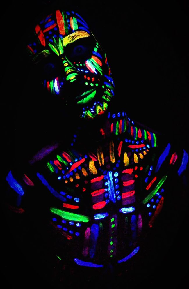 Photography Photography Shoot Ultraviolet UV  Paint Glow Flouresent Light Lights Studio Shot Model Scary Tribe Photographer Project Colour Creative Studio Studio Photography Shapes Focal Point Darkroom Male Pose Ruleofthirds Forground