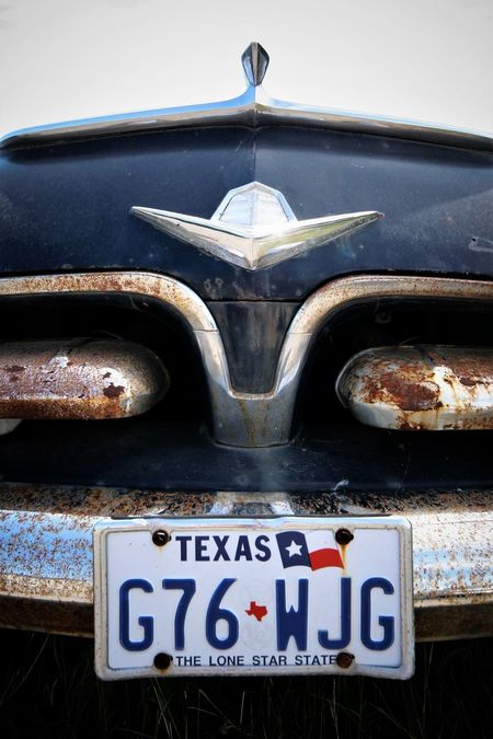 Close-up Day License Plate No People Old Car Outdoors Texas Vintage Cars