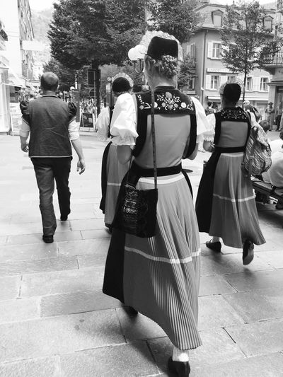 Full Length Rear View Real People Walking Women Lifestyles Day Outdoors Architecture People Traditional Clothing Traditional Culture Festival Swiss Tradition Jodel Jodelfest Dressing Up Dress