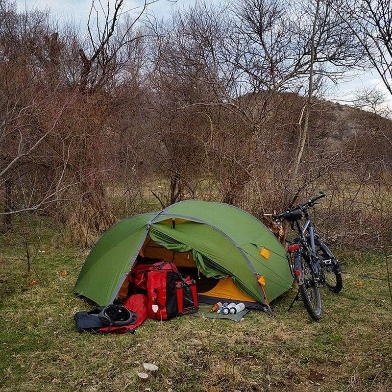 Sleeping in the wilderness of Georgia . Biketouring Cycling Camping Fahrradtour Fahrrad Caucasusbybike Travel Nature Ortlieb Exped Tent