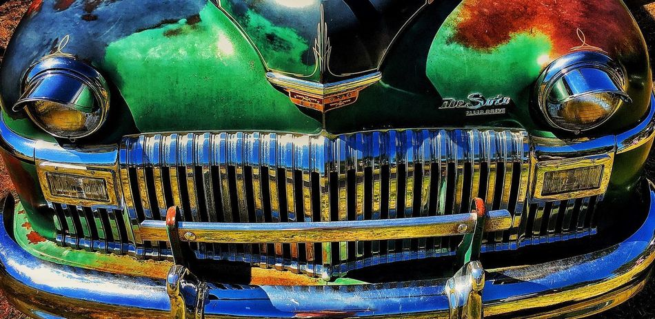 DeSoto Vintage Car Transportation Mode Of Transport No People Land Vehicle Arts Culture And Entertainment Outdoors Backgrounds Day Close-up Chrome-chrome-chrome Customized California Dreaming