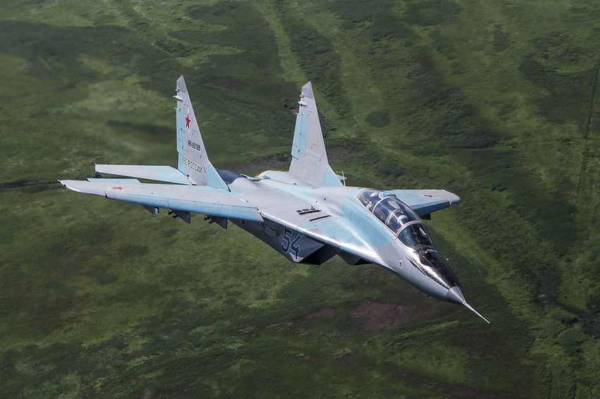 Aerial View Aerospace Industry Air Force Air Vehicle Airplane Astrakhan Day Fighter Plane Flying Jet Mig Mig-29 Mikoyan I Gurevich Military Military Jet No People Russia Russian Airforces Russian Military Transportation