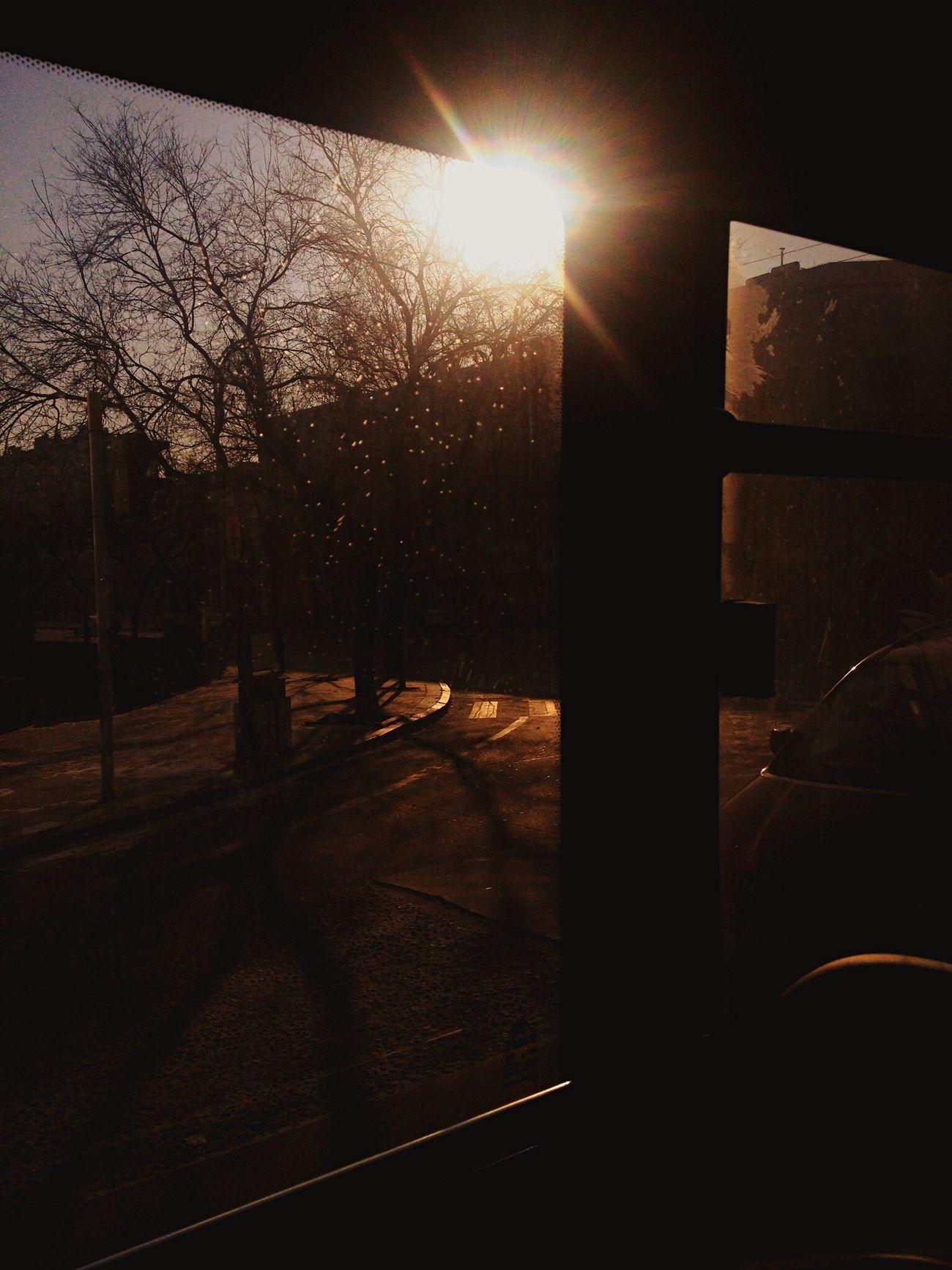早晨的公車窗外街區。