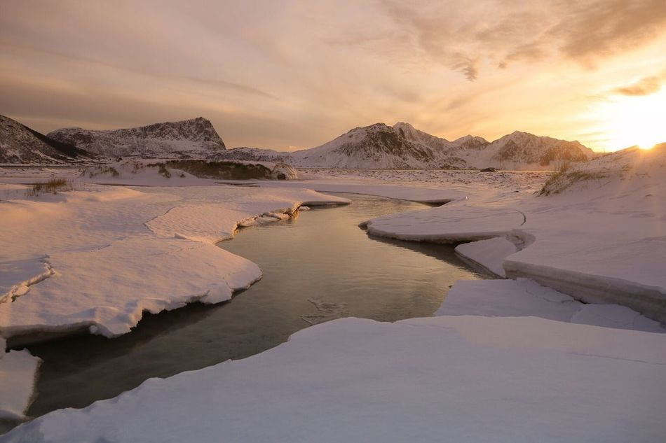 Beauty In Nature Tranquil Scene Tranquility Nature Scenics Sky Water Sunset No People Outdoors Day Lofoten Islands Norway Arctic Frozen Haunklandstrand Beach