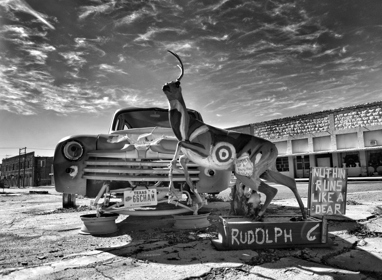 Mode Of Transport Old-fashioned Riding Outdoors No People Ballinger Texas Black&white Black And White Collection! Black & White Photography EyeEm Gallery Transportation Steel Rusty Metal Eyeemphotography West Texas Texas Photographer This Week On Eyeem Cloud - Sky West Texas Skies deer Deer