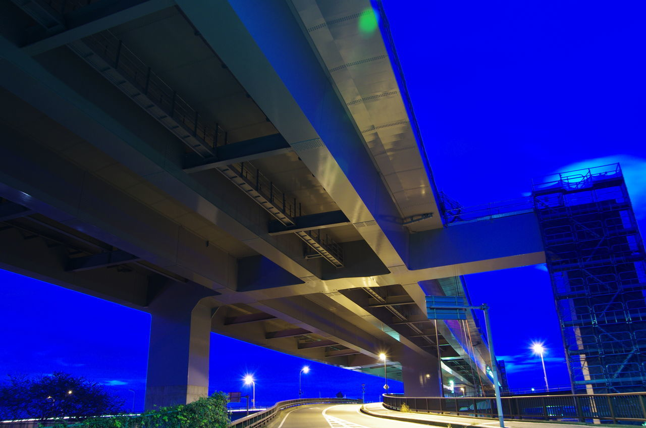 Architecture Blue Bridge Bridge - Man Made Structure Built Structure Lights Morning No People Road Sky Underconstruction