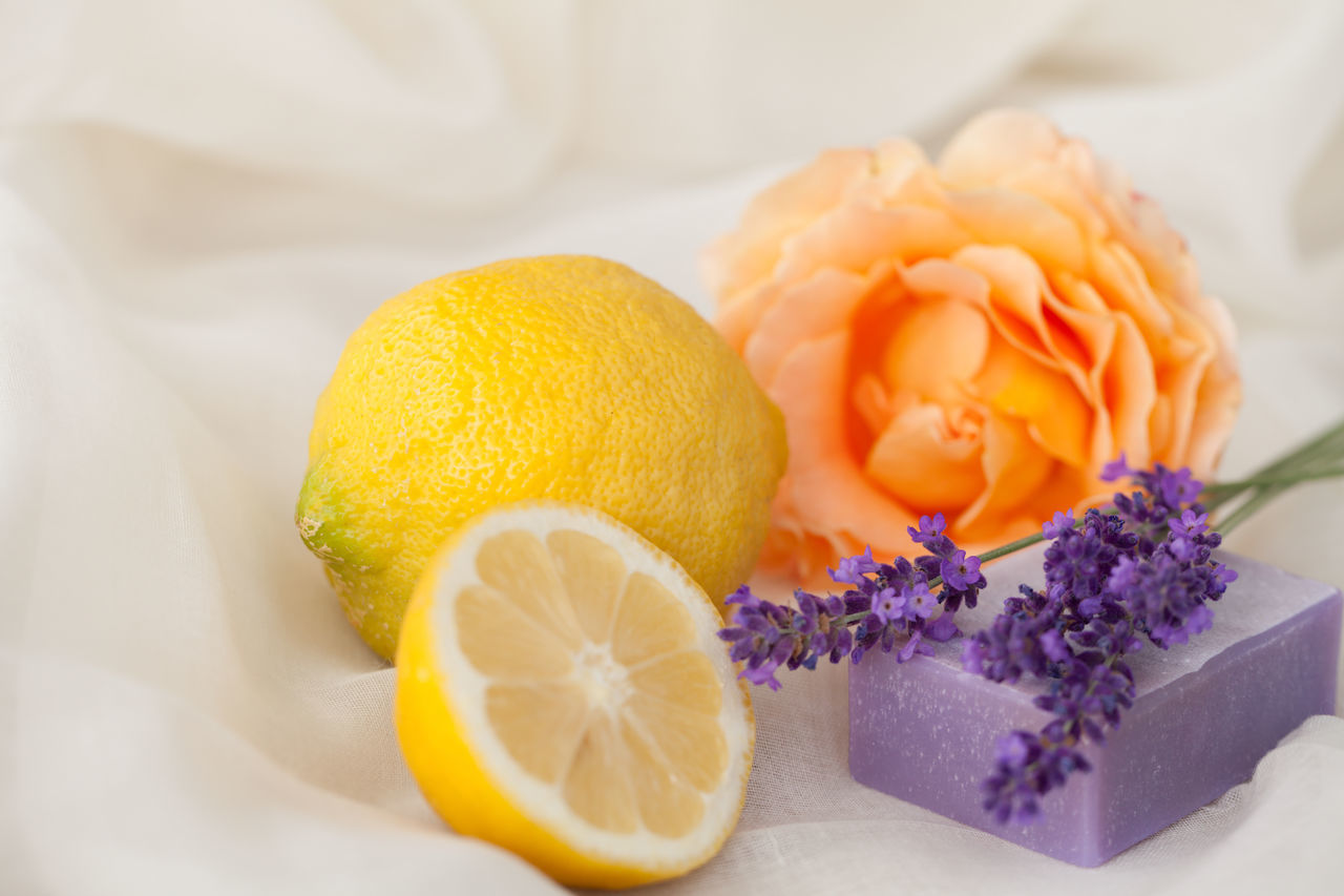 Aromatherapy Wellness Bloom Citrus Fruit Close-up Day Flower Flower Head Food Food And Drink Freshness Fruit Healthy Eating Healthy Lifestyle Indoors  Lavender Lemon No People Odor Rose - Flower Scented Smell Soap Spa White Background