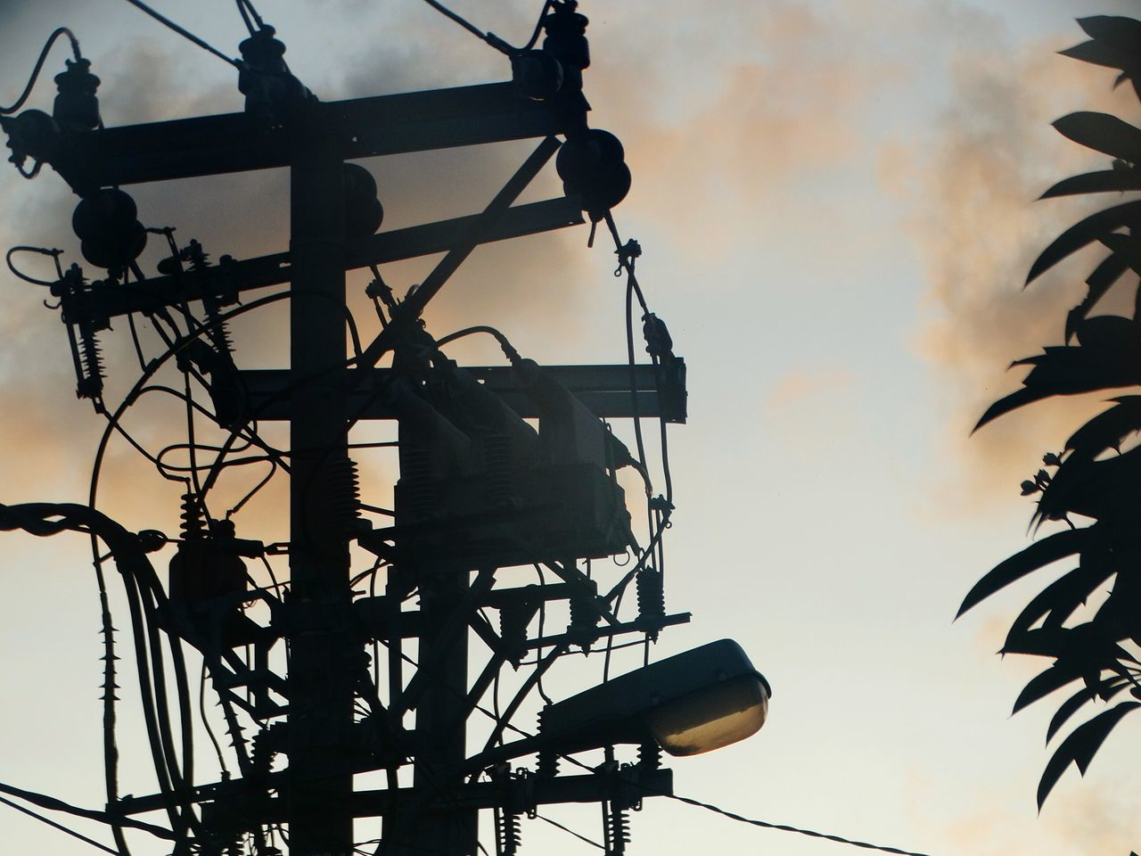No People Sky Sunset Low Angle View Outdoors Nature Day Electricity  Electric Light Electric Tower  Contrast