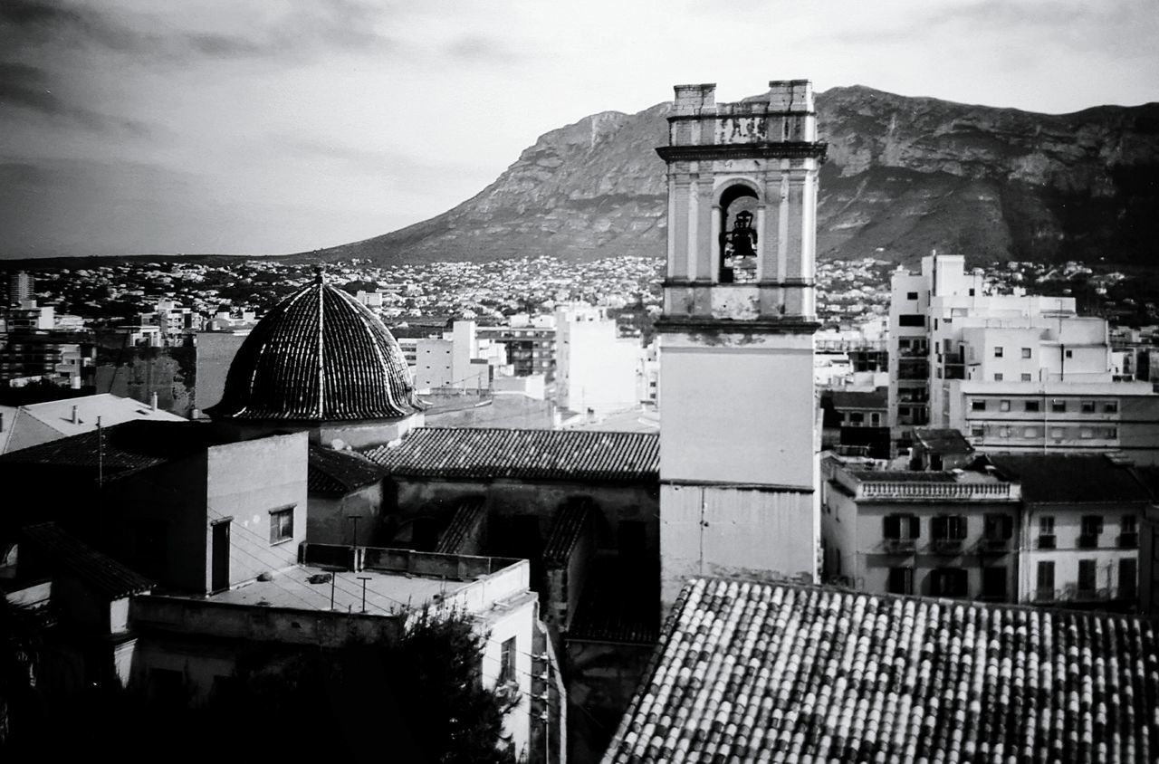 Architecture Town Roof Church Bell Tower TOWNSCAPE No People Scenics Place Of Worship Travel Destinations 1987 Old Old Buildings SPAIN Denia Old Architecture Monochrome _ Collection Lightandshadows Tranquil Scene Tranquility Black And White Architecture Oldpicture Monochrome Photography Monochrome Photograhy