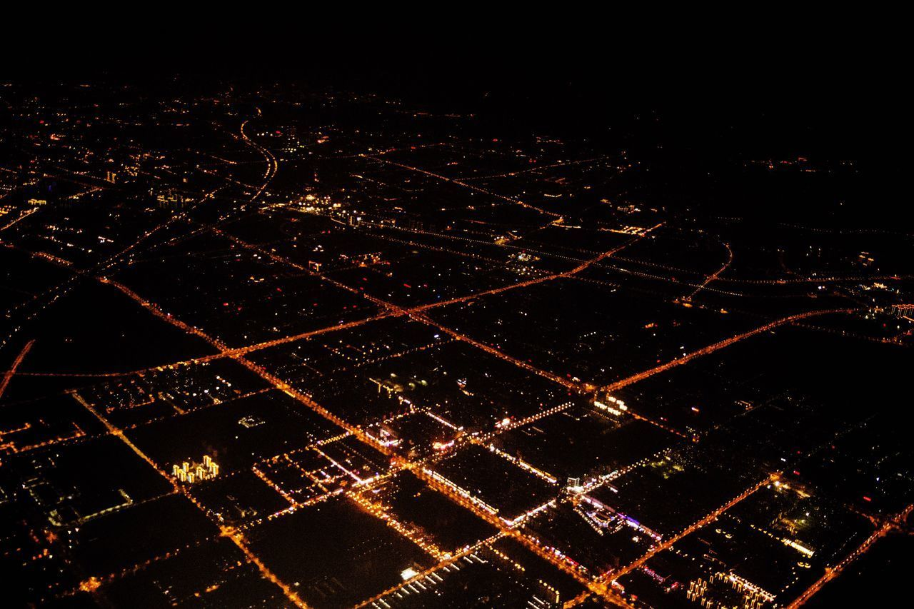 night, illuminated, outdoors, no people, aerial view, road, building exterior, city, cityscape