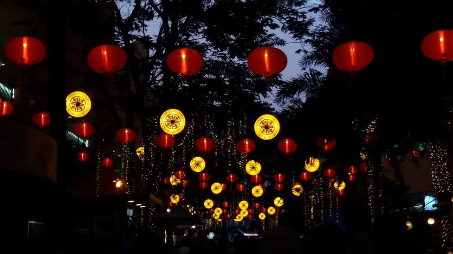 Lantern Illuminated Cultures No People Red Sky Night Outdoors
