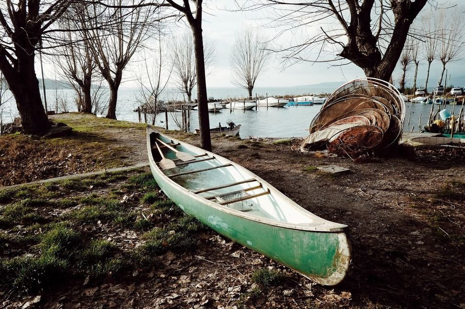 WATER DREAMING [series], by Claudia Ioan Tree Outdoors Nature No People Tranquility Day Boat Water Sky Beauty In Nature Fujifilm X-Pro1 Fujinon Lake Trasimeno Lake Umbria Landscape VSCO Fishing Net Lakeshore