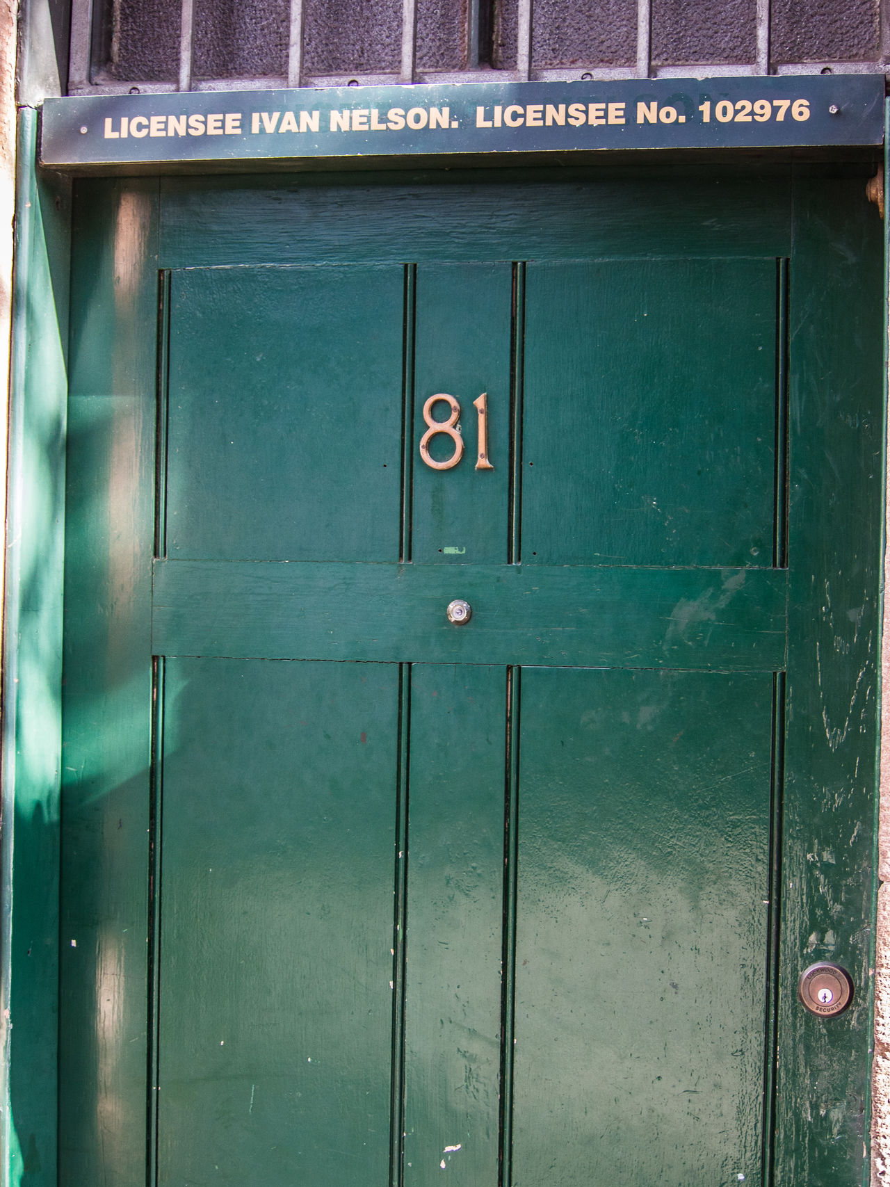 Number 81 on the door Door Door Number Doorway Green Door Number