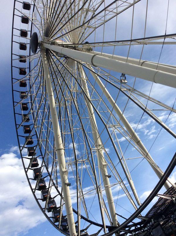 Desde otro ángulo Big Wheel Built Structure Day Estrella De Puebla Ferris Wheel Low Angle View Puebla Puebla De Zaragoza Rueda Rueda De La Fortuna Ruedadelafortuna Sky First Eyeem Photo