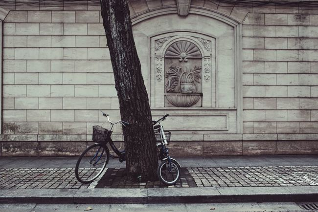 A couple of bikes My Street Photography My City From My Point Of View Taking Photos Street Streetphotography Shanghai Shanghai Streets Shanghaiphotography Bike Land Vehicle Mode Of Transport Bicycle Parking No People Street Wall Atmosphere Peace And Quiet Peace Street