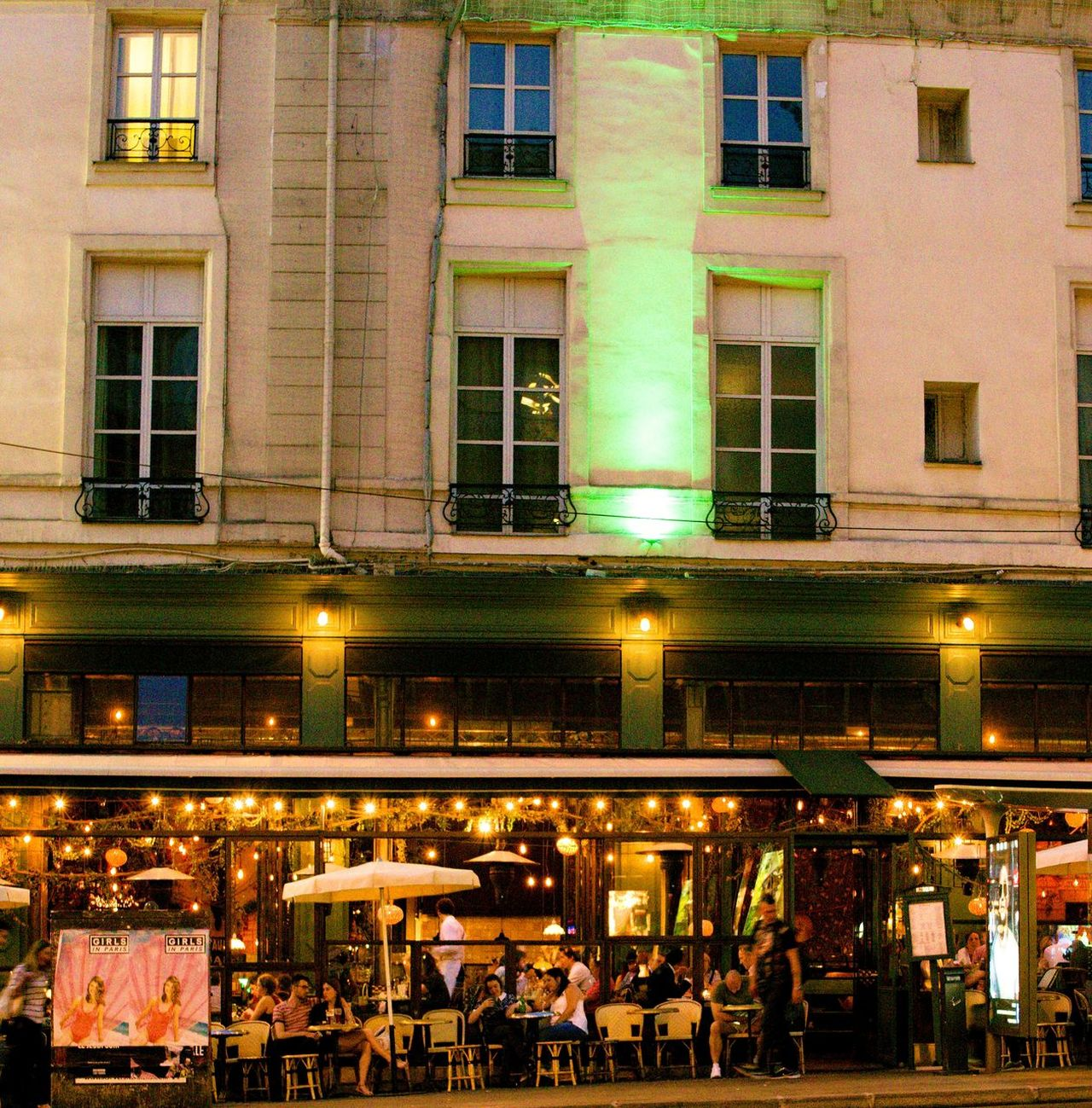 2 Days Ago Architecture Brasserie Building Exterior Built Structure City Grands Boulevards Illuminated Large Group Of People Men Neon Night Night In Paris Outdoors People Real People Relaxing Time Store Streetphotography Window
