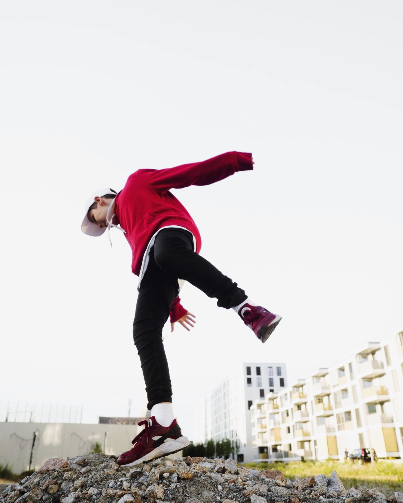 Full Length One Person Red Motion People Day Outdoors Low Angle View Adults Only Only Men Jumping Teenager Sports Clothing Young Adult Athlete Sky Urbanphotography Out Of The Box