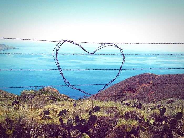 Love Is In The Air Barbed wire heart. Barbed Wire Heart Hiking Island Traveling