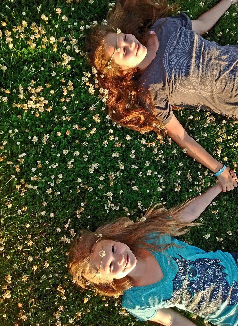 Two Girls Relaxing Outdoors