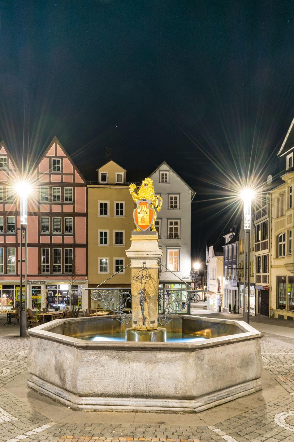 City night Architecture City Cityscape Fountain Hachenburg Illuminated Lion Night Nightphotography Sculpture Statue